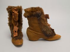 1895 Woman's Carriage Boots Culture: American Medium: suede, fur, satin