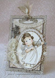 Inky Angel: Monochromatic Tilda with Violin- Marvelous Magnolia DT Card