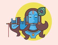 Janmashtami illustration of Lord Krishna Krishna Painting, Krishna Art, Lord Krishna, Viking Symbols, Mayan Symbols, Egyptian Symbols, Viking Runes, Ancient Symbols, Indian Folk Art