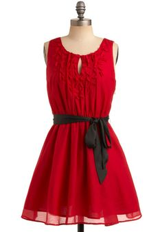 Modcloth Ya'll Red-y for This Dress  From its carefully concealed side zip and elasticized waist, to its black satin sash and cute keyhole neckline adorned with petal-like embellishments, this fabulously fierce frock is simply 'en fuego'. Now, go on, and get your fantastically fashionable self out on the dancefloor!