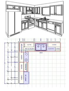 Useful Kitchen Dimensions And Layout - Engineering Discoveries Small Kitchen Floor Plans, Small Kitchen Renovations, Kitchen Layout Plans, 10x10 Kitchen, Kitchen Cabinet Layout, Bathroom Floor Plans, Kitchen Room Design, Home Decor Kitchen, Kitchen Interior