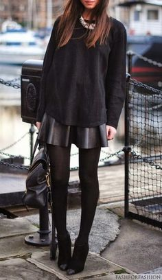 black oversized sweater // statement necklace // black leather skirt // black tights // black booties // blackblackblackblack