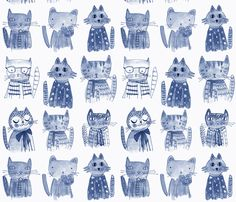Baby blankets and nursery decor ARISTO CATS monochrome fabric by mimipinto on Spoonflower - custom fabric Nursery Wall Art, Nursery Decor, Fabric Sewing, Quilt Baby, Baby Cats, Baby Blankets, Custom Fabric, Spoonflower, Scrapbook Paper