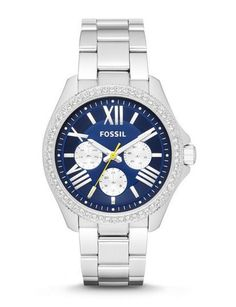 NEW WOMEN'S Cecile Fossil WATCH AM4551 BLUE Face BLING Bezel S Steel Band #Fossil
