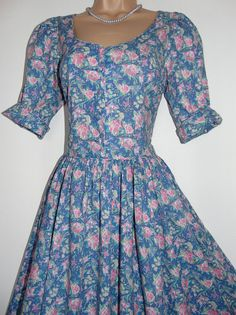NEW WHITE STUFF SLATE BLUE PURPLE VINTAGE STYLE COTTON SUMMER TEA DRESS UK 8
