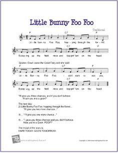 Little Bunny Foo Foo - Free Voice/Piano/Guitar Sheet Music (Lead Sheet) Kindergarten Music, Preschool Music, Music Activities, Teaching Music, Learning Piano, Teaching Reading, Silly Songs, Fun Songs, Kids Songs