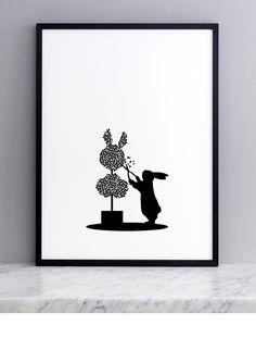 Topiary Rabbit Screen Print