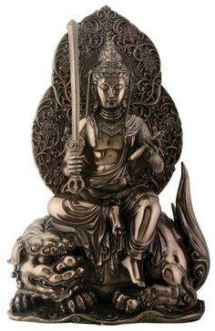 Mañjuśrī is depicted as a male bodhisattva wielding a flaming sword in his right hand, representing the realization of transcendent wisdom which cuts down ignorance and duality. The scripture supported by the lotus held in his left hand is a Prajñāpāramitā sūtra, representing his attainment of ultimate realization from the blossoming of wisdom.