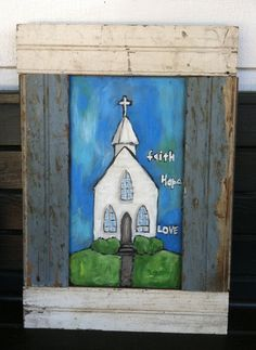 Little White Church original painting FRAMED by TheOldPostRoad, $145.00