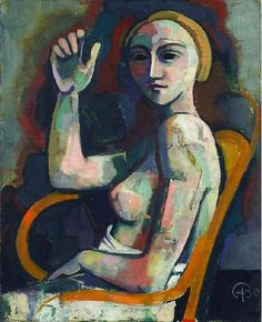 1930 Karl Christian Ludwig Hofer aka Carl Hofer (German, 1878~1955) was a German expressionist painter. One of the most prominent painters of expressionism, he never was a member of one of the expressionist painting groups, like 'Die Brücke', who influenced him.