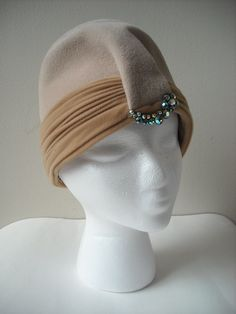 Vintage Beige 1960s Hat with Rhinestones by Baxtervintage on Etsy, $28.00