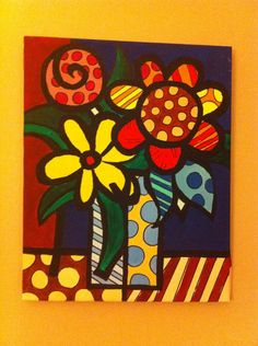 britto style paint canvas colorful fun