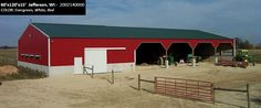 60'x120'x15' Cleary Dairy & Livestock Building in Jefferson, WI | Colors: Evergreen, White, Red,