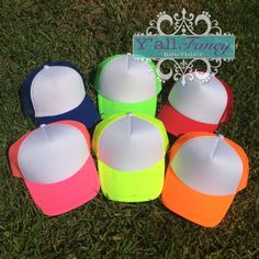 Custom Neon Trucker Hats - Monogram or Hashtag or Quote! on Etsy, $19.99