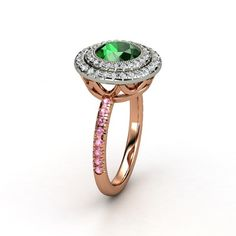 Emerald + Pink Tourmaline Diamond Ring