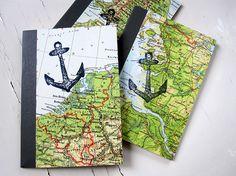 DIN A6 - Reisetagebuch aus Landkarte mit Anker / DIN A6 - ein Designerstück von renna-deluxe bei DaWanda