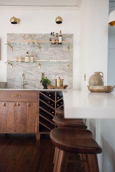 Home Wet Bar, Bars For Home, Living Room Bar, Bar In Dining Room, Cabinets In Dining Room, Bar Cabinets For Home, Dining Area, Kitchen Design, Kitchen Decor