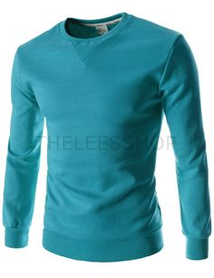 (FLT03-CYAN) Mens Slim Fit Round Neck Point Basic Cotton Colorful Long Sleeve Tshirts