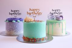 Mini Purple and Turquoise Buttercream Cakes - http://cakesmania.net/mini-purple-and-turquoise-buttercream-cakes/
