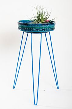 Electric Blue Metal Wire Plant Stand Mid-Century Inspired