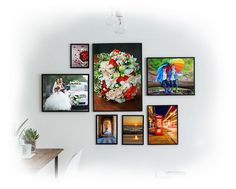 canvas photo with frame on wall