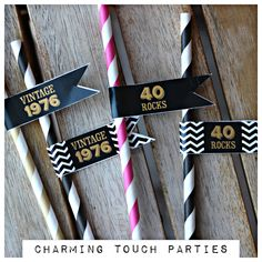 40th Birthday party straws + straw flags.  Set of 18.  Ladies black, gold and…