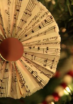 Simply Klassic Home: Sheet Music Paper Fan Christmas Ornaments