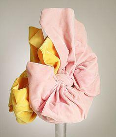 Pink and yellow silk velvet doll hat by Elsa Schiaparelli, French, autumn Elsa Schiaparelli, Turbans, 1930s Fashion, Vintage Fashion, Edwardian Fashion, Fashion Goth, Vintage Accessories, Fashion Accessories, Anthony Perkins