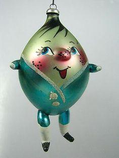 Vintage HUMPTY DUMPTY Figurine Italian Mercury Glass Christmas Ornament