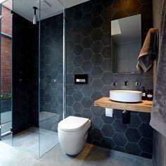 #interiordesign #interior #design #inspiration #home #pictureoftheday #interiorinspiration #living #styling #decor #picoftheday #bathroom #ensuite #featuretile #glassshower #concretetile #exposedbrick #hexagontile #potd