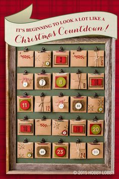 Create a crafty Christmas countdown with this simple DIY Advent calendar! 1) Using a variety of stamps, stickers, twine and paper, embellish and number 25 paper envelopes. 2) Attach metal clips onto a large sheet of green paper or poster board using hot glue or glue dots. 3) Fill each envelope with a handwritten note or other small Christmas surprises. 4) Finish off with a barn wood frame.