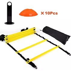 Speed Agility Training Ladder Kit--12 Adjustable Flat Rungs and 10 Cones with Carry Handle--for Football Soccer Skate Agility Training, Training Equipment, Soccer Players, Football Soccer, Keep Fit, Football Players, Stay Fit, Workout Attire, Fitness