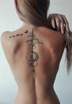 minimal back tattoo with moon tree and birds