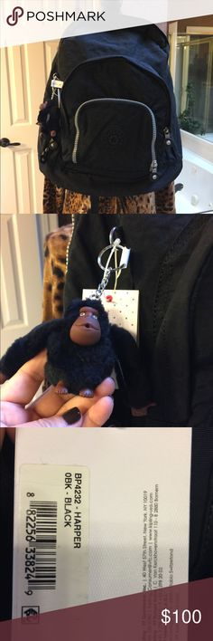 Kipling Large Expandable Backpack 🎒 Wow huge Backpack that can be expanded or just zip that section up and the Backpack is smaller.  Great for traveling, carrying books, gym bag, etc.  Monkey's name is Leandro! Kipling Bags Backpacks