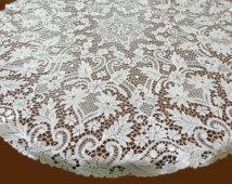 Vintage round lace tablecloth Plauener Spitze