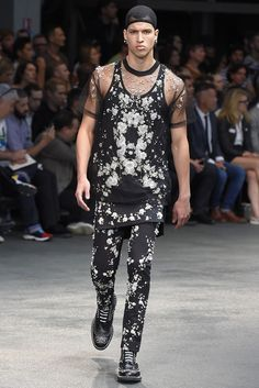 Givenchy Men's RTW Spring 2015 | pearled trouser and sheer t-shirt
