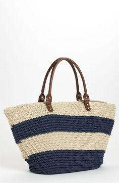 comes in blue & pink Straw Studios 'East West' Tote Crochet Tote, Crochet Handbags, Nude Bags, Straw Tote, Basket Bag, Handmade Bags, Clutch Purse, Purses And Bags, Shoulder Bag
