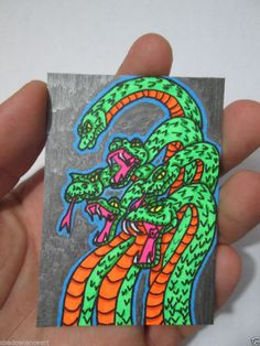 ACEO Original Super Snakes Horror Black Light Collectible Artist Trading Card  #Miniature #ebay #aceo #horror #snakes