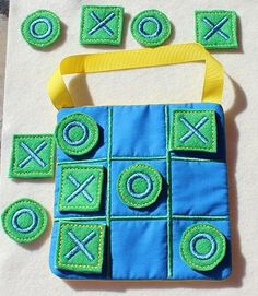 Blue, Green & Yellow Boy Tic Tac Toe Embroidered Felt with rear storage pocket and Ribbon Carry Strap Game for boys, girls and Adults