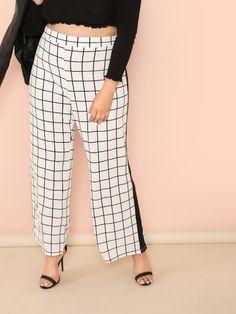 866a1218fc3 Plus Contrast Tape Grid Pants -SheIn(Sheinside) Plus Size Pants