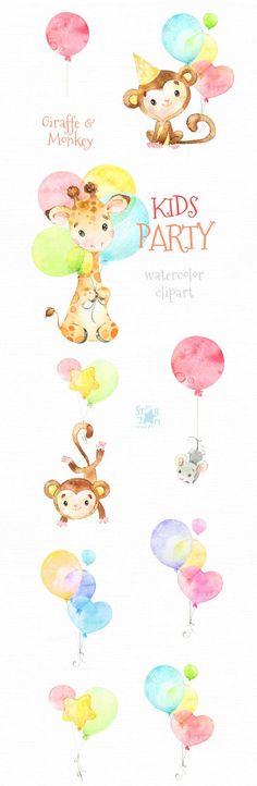 Kids Party 2 Giraffe Monkey Watercolor little animal Birthday clipart, baby, air balloons, birthday, Air Balloon, Balloons, Birthday Clipart, Clipart Baby, Animal Birthday, Baby Shower, Birthday Images, Watercolor Animals, Oeuvre D'art