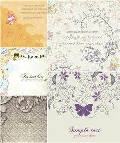 Elegant spring cards vector
