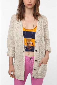 Urban Outfitters BDG Marled Cable Fisherman Cardigan
