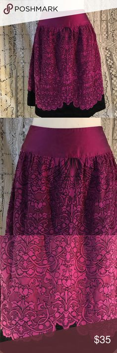 """Peter Nygard silk embroidered net skirt 3"""" yoke in purple silk, then an A line skirt in purple silk and poly netting, outlined in black embroidery with a black hem. Fully lined in purple silk. Fully functional side zipper. No holes or pulls. 16"""" across waist. 24"""" waist to hem. Perfect in every way!! EUC from a smoke free home. Peter Nygard Skirts A-Line or Full"""