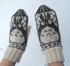 knit mittens intarsia totoro