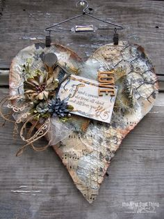 mixed media heart collage by lynne forsythe Heart Collage, Heart Art, Altered Canvas, Valentine Heart, Valentine Crafts, Diy And Crafts, Arts And Crafts, Paper Crafts, Mixed Media Canvas