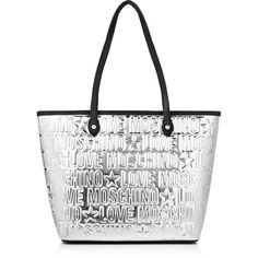 Love Moschino Metallic Logo Shopper (£170) ❤ liked on Polyvore featuring bags, handbags, tote bags, silver, quilted handbags, shopping bag, zip top tote, white handbags und structured tote bag