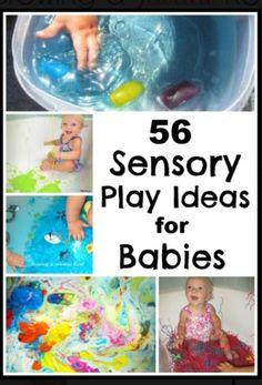 http://www.growingajeweledrose.com/2012/08/56-sensory-play-ideas-for-babies.html?m=1   Brilliant