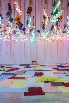 Untitled (from My Madinah: In pursuit of my ermitage…), 2004/2013 Fluorescent tubes, Plexiglas, orange extension cord, rope, and other materials. Approximately 30 x 45 feet Galerie Hauser & Wirth, Zurich and London