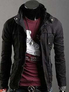 Buy Wholesale Man's Stylish Solid Color Casual Jacket Coat at Wish - Shopping Made Fun Gothic Outfits, Edgy Outfits, Cool Outfits, Fashion Outfits, Cyberpunk Fashion, African Men Fashion, Character Outfits, Look Cool, Types Of Fashion Styles